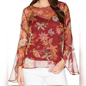 VINCE CAMUTO Sheer Flare Sleeve Floral Blouse M